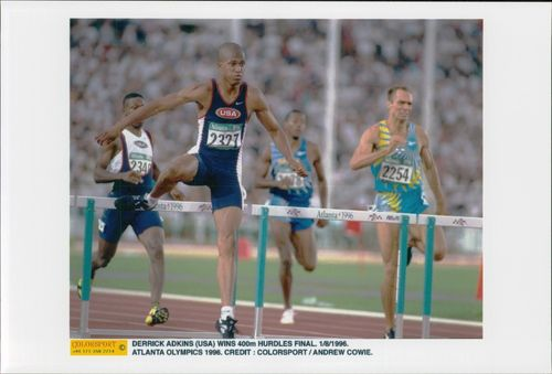Derrick Adkins wins the 400m league final at the Atlanta Olympic Games in 1996