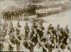 Soldiers gathered in street during the Russian-Japanese war, 1905.