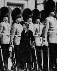 Queen Elizabeth inspected the grenadier and surrendered his stand to his life company (collage)