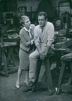 """Jean Seberg and Maurice Ronet on set of film """"Les grandes personnes"""" August 2, 1960."""