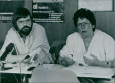 West German Amnesty officials, Brigitte Erler and Reinhard Marx at a press conference to mark the 25th anniversary of Amnesty International, 1986.