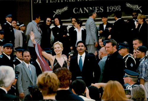 "Sharon Stone along with husband Phil Bronstein at the film premiere of ""The Mighty"""