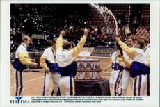 Sweden's national team celebrates the win in the Davis Cup