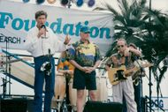 The Beach Boys are visiting Baywatch. Here along with David Hasselhoff