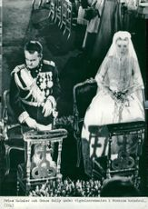 Prince Rainier and Grace Kelly during the ceremony ceremony in Monaco's Cathedral