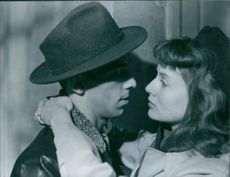 "Inga Landgré and Sven-Eric Gamble in a scene from the 1950 film, ""While the City Sleeps""."