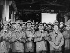Factory workers assembled, looking at Pope Paul VI.  Taken - 7 Jan. 1969