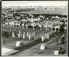 Olympic Games in Munich in 1972. The Swedish troops gathered under Prince Bertil's eager turns to go faster during the opening ceremony of the Munich Olympic Stadium