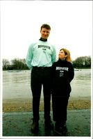 Oxford cox Abbie Chapman with tallest Cambridge rival Scott Brownlee