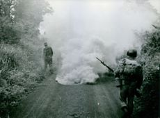 Soldiers walking in the road with smoke, in Vietnam