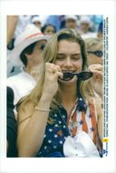 Actress Brooke Shields among the spectators at Andre Agassi's final match in tennis