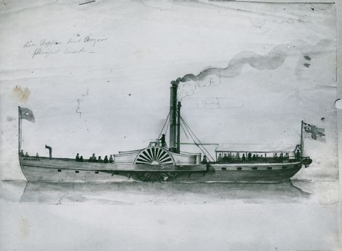 """Sketch from the Cedergrenska sketch collection of the """"Mälaren"""" ship at the Maritime Museum *"""