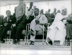 François Tombalbaye talking to André Malraux in Tchad. 1961.