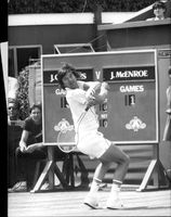 Jimmy Connors in action against McEnroe in the Stella Artois tournament in London