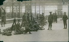 Colonial troops relaxing at the railway platform, 1935.