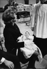 Ethel Skakel Kennedy with her newborn baby.