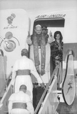 Pope Paul VI getting out of plane.