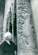 Cathedral architect Eiler Graebe at one of Lund's cathedrals, the medieval corals