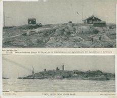 Top image: Telegraph station at the top, one of the pilot outlets and the signal bar on Vinga. Bottom view: View of Vinga, seen from Vinga Sand