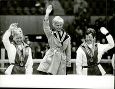 The medalists Berit Moerdre, Toini Gustafsson and Inger Aufles at the Winter Olympics in 1968