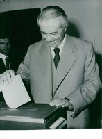 Enver Hoxha votes in the local elections in Tirana