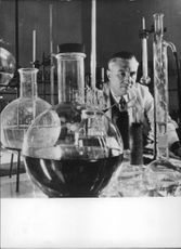 Dr. Const. Nenitescu in his lab.