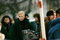 """Charlize Theron during the recording of the movie """"The Astronaut's Wife"""""""