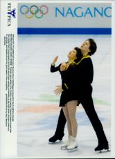 Winter Olympics in Nagano 1998. Figure skating. Russian couple Artur Dmitreiv and Oksana Kazakova in the finals