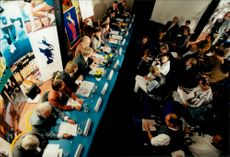 Press conference when the city of Stockholm applies for the 2004 Olympic Games