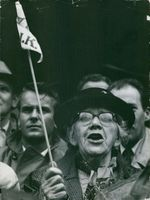 "Close up of an old woman, screaming while protesting with other people.  ""__ bystander""  1956"