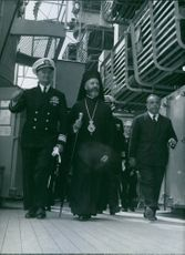 A photo of Archbishop Makarios visit s and American Warship - July 4, 1960