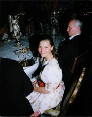 Crown Princess Victoria during dinner for guest King Harald and Queen Sonja from Norway.
