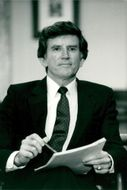Senator Gary Hart talks at a press conference