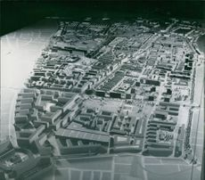 Vintage photo of a dummy city of London. Photo taken in 1946.