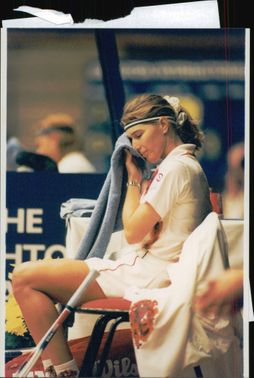 Steffi Graf after his loss in the tennis tournament Brighton International