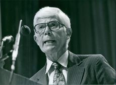 John B. Anderson, who is standing against President Jimmy Carter and Ronald Reagan as a n independent in the 1980 Presidential election.
