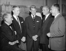 General Consul Seth Brinch with Svante Liman, Dag Härsing, Nils Grenander and Roland Norlén at the Swedish Navy Maritime Academy's 25th Annual Meeting