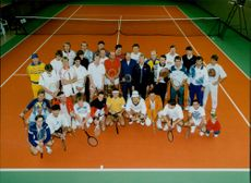 Group picture with tennis players on plan during Stockholm Open 1994
