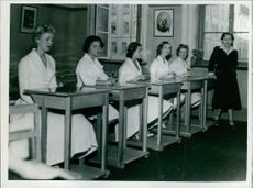 Einar Beyron's daughter Catarina on the left with her matriculation class. 1957