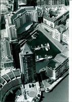An aerial of the smart new buildings of chelsea harbour.