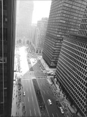 High angle view of road and skyscrapers.