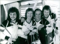 """1979 Members of the British pop group Black Lace standing together. (left to right: Coyn Routh, Alan Barton, Steve Scholey and Terry Dobson) who represent Great Britain in the 1979 Eurovision Song Contest in Israel, with their entry """"Mary Ann""""."""