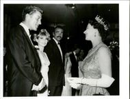 """The Royal Premiere of the James Bond movie """"You Only Live twice"""" in London. Picture: Dick van Dyke meets the queen with Diane Cilento and Sean Connery."""