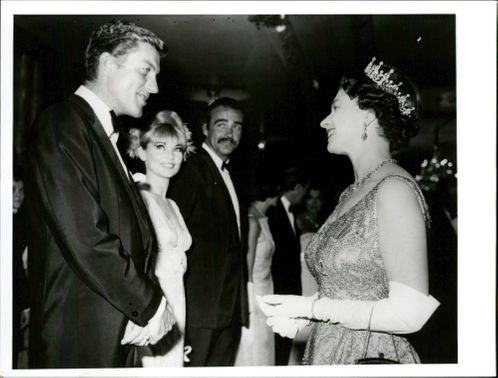 "The Royal Premiere of the James Bond movie ""You Only Live twice"" in London. Picture: Dick van Dyke meets the queen with Diane Cilento and Sean Connery."