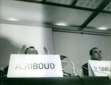 Antoine Riboud speaking on mike during the conference. 1963