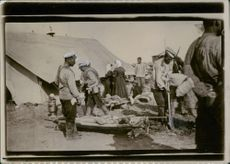 Workers at the Red Cross camp.