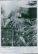A picture from the air of the great city on the Volga under bombardment by the German Luftwaffe, 1942.