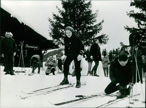 Beatrix and Claus of the Netherlands skiing.