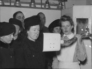 A Red Cross sister demonstrates the X-ray room at the 'Prince Carl' hospital ship during the Red  Cross  Week - 8 May 1944