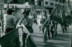 People holding flags on the road.